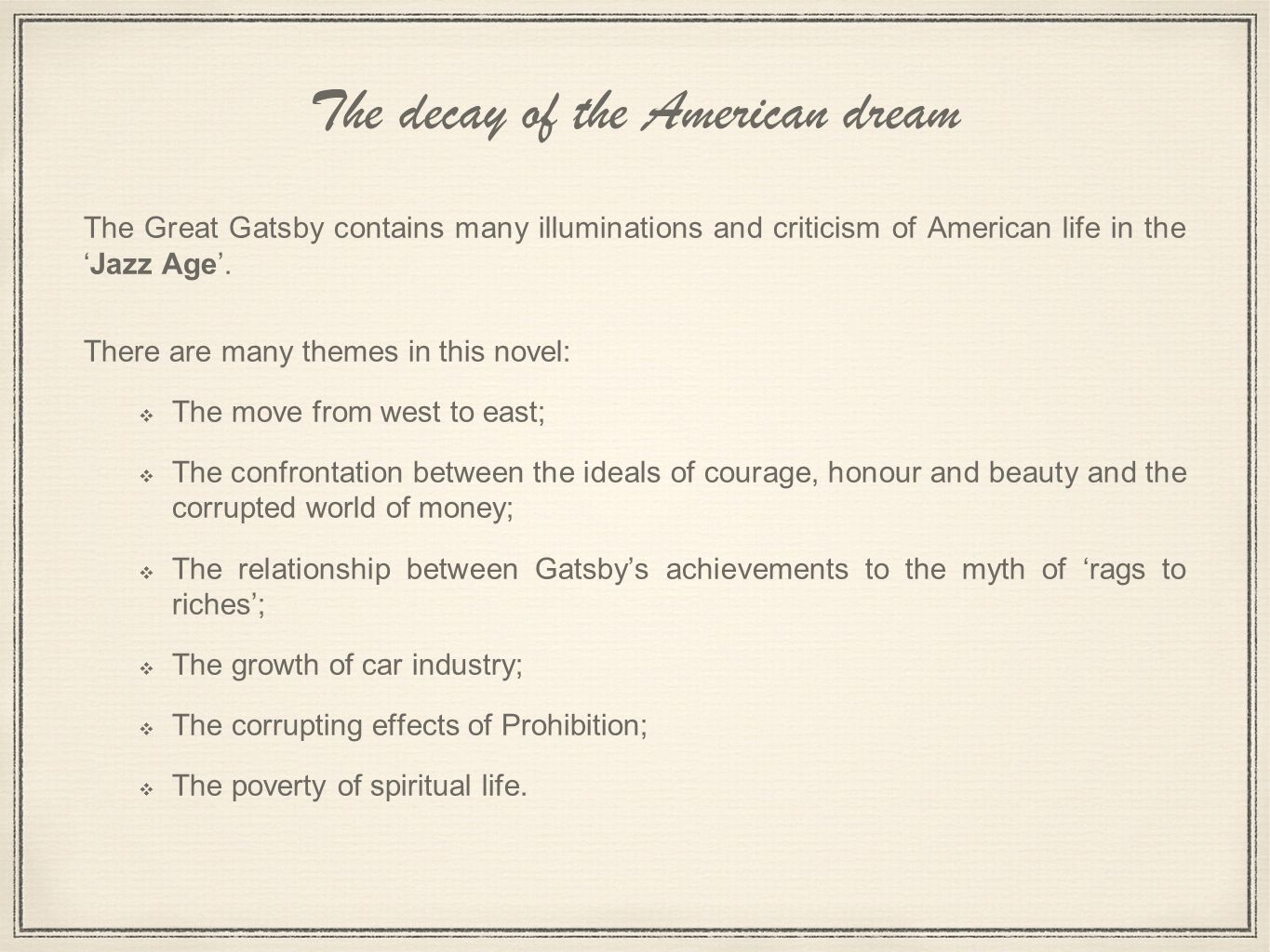 the failure of the american dream in the great gatsby essay