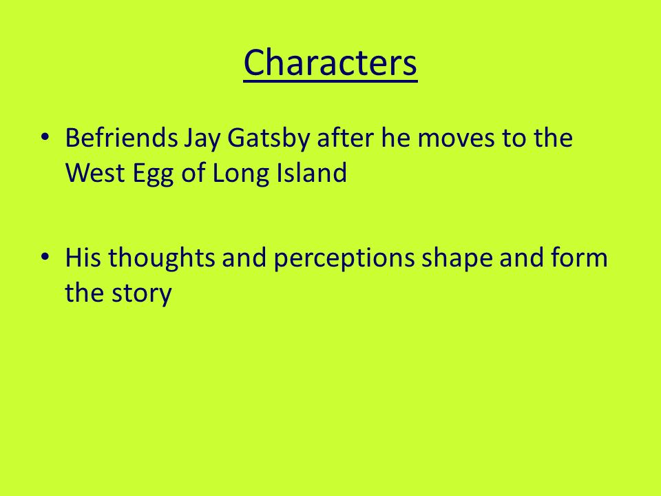 character analysis thesis great gatsby Character analysis: the great gatsby character(s) communicate your chosen theme and consider how (thesis statement.