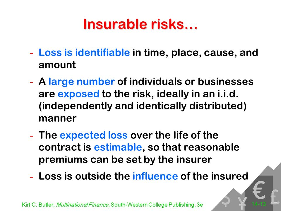 insurable risks Study 7 elements of insurable risk flashcards from brandon m on studyblue.