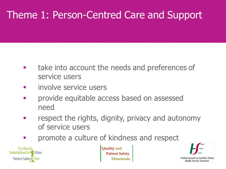 Theme 1: Person-Centred Care and Support