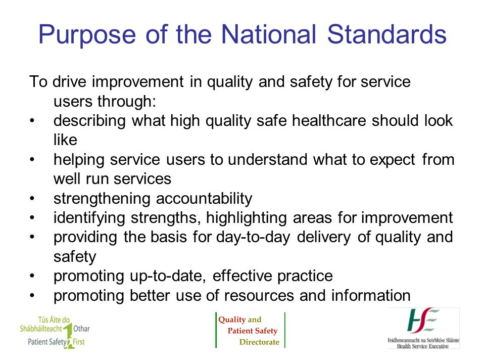 Purpose of the National Standards