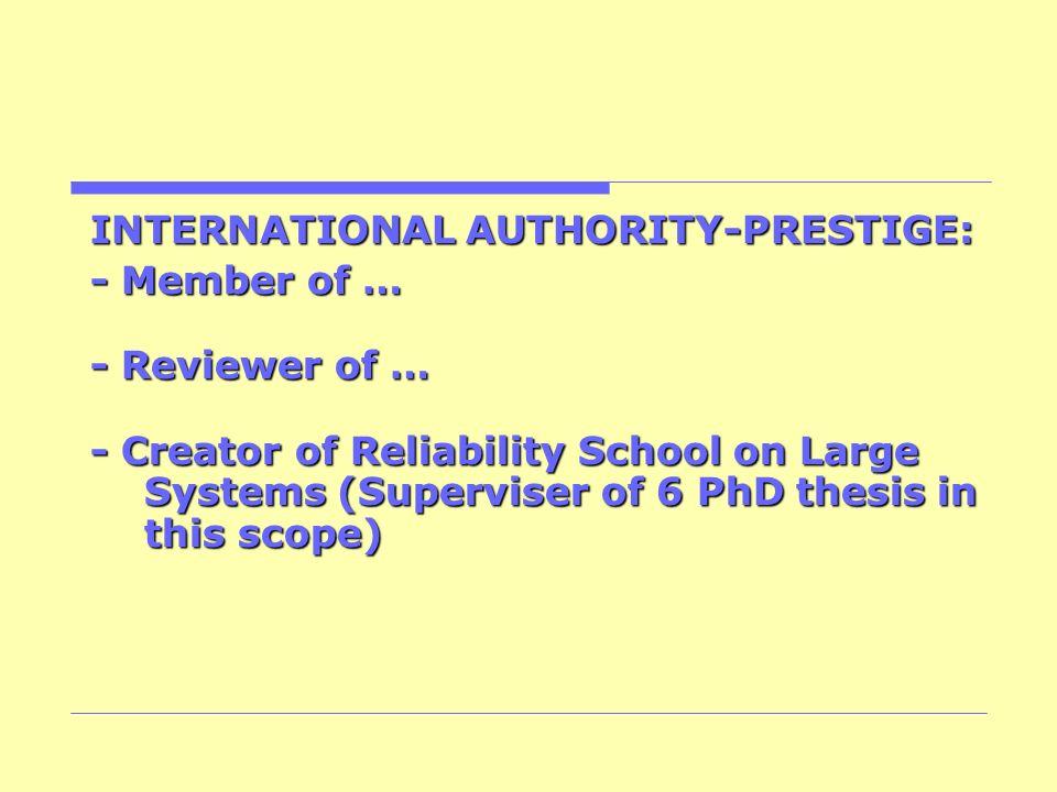 INTERNATIONAL AUTHORITY-PRESTIGE:
