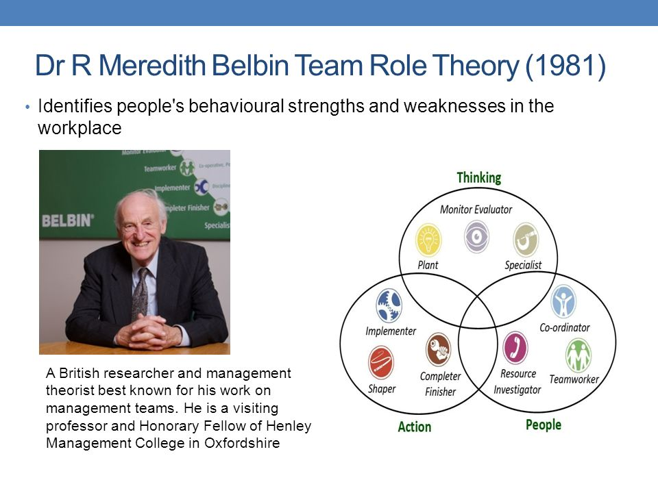 dr meredith belbins team roles essay Belbin team roles questionnaire belbin personality test online belbin php  part  of a team has been defined by dr meredith belbin as the team roles specified for.