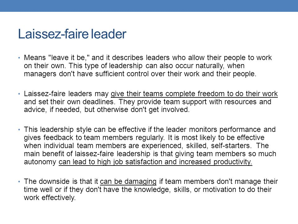laissez faire leadership style definition