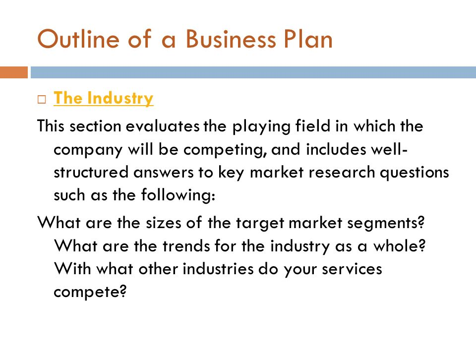 outline of a business plan Use a Business Plan Outline