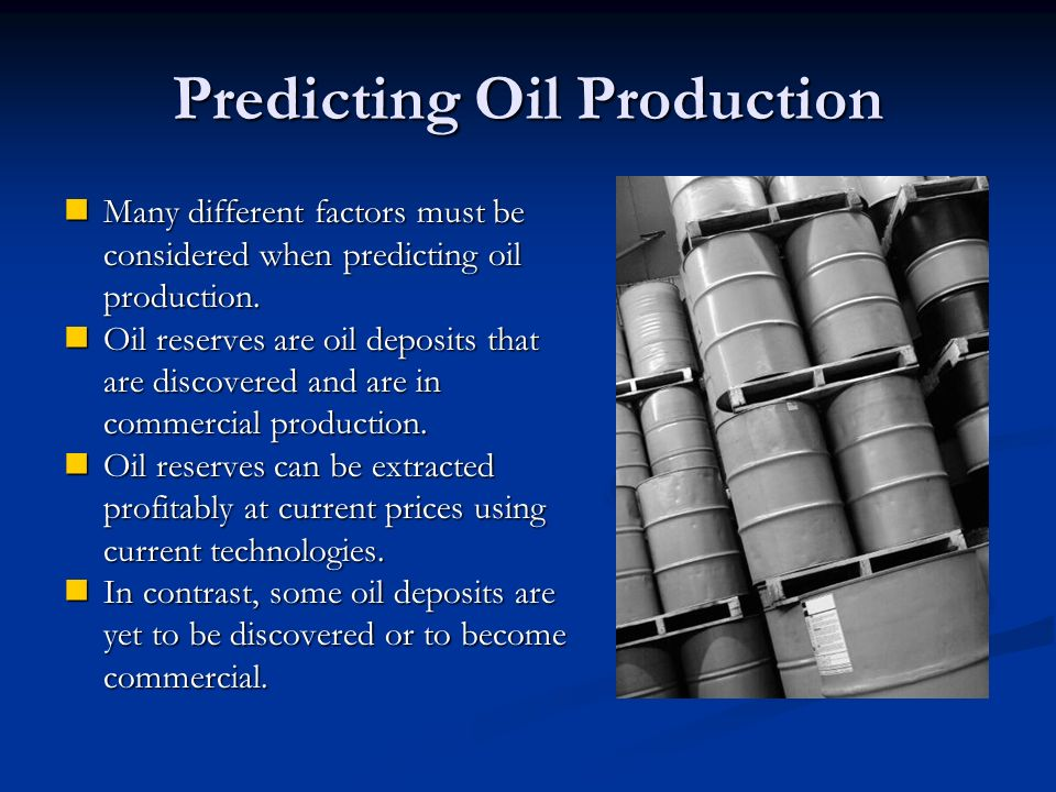 Predicting Oil Production