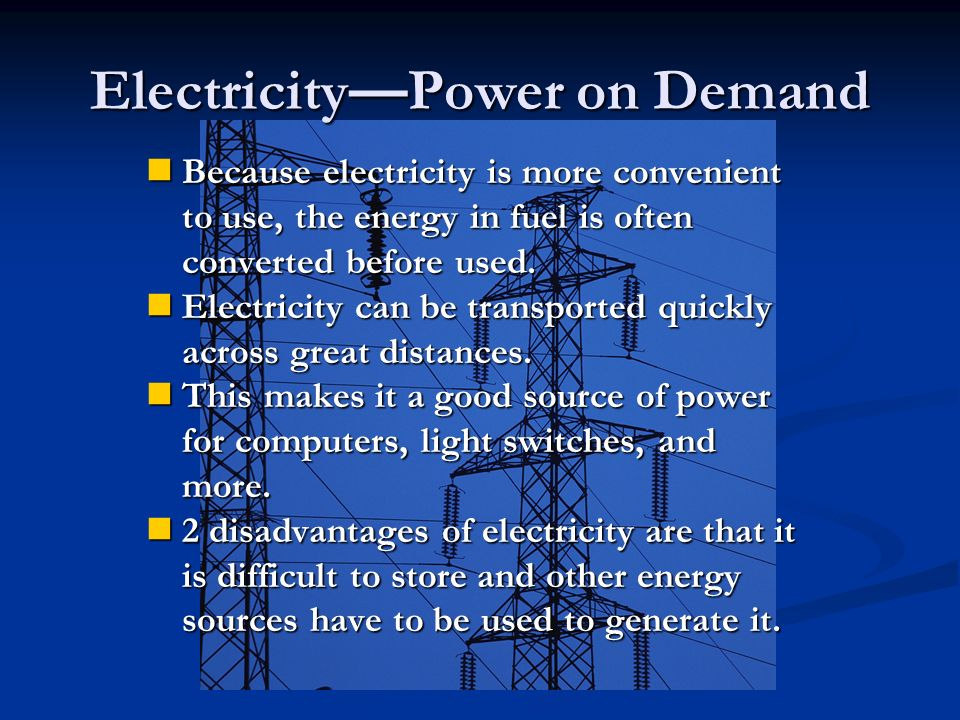 Electricity—Power on Demand