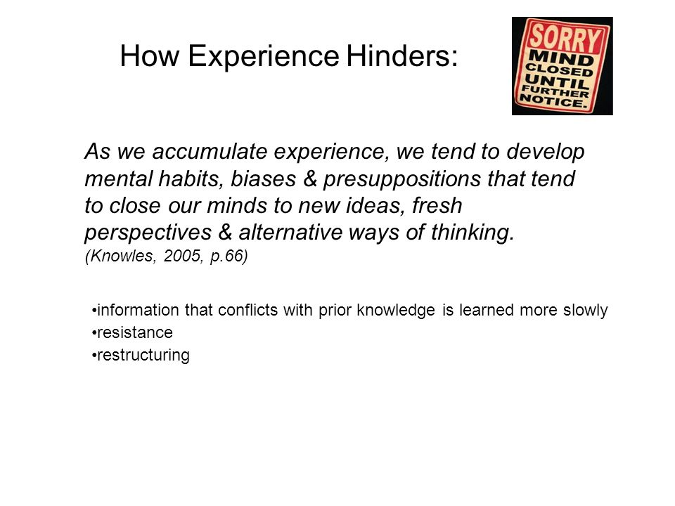 habits that hinder thinking Critical thinking errors here are some of the errors and bad habits which can lead to shallow or uncritical decisions instead of careful judgments (from ruggiero).