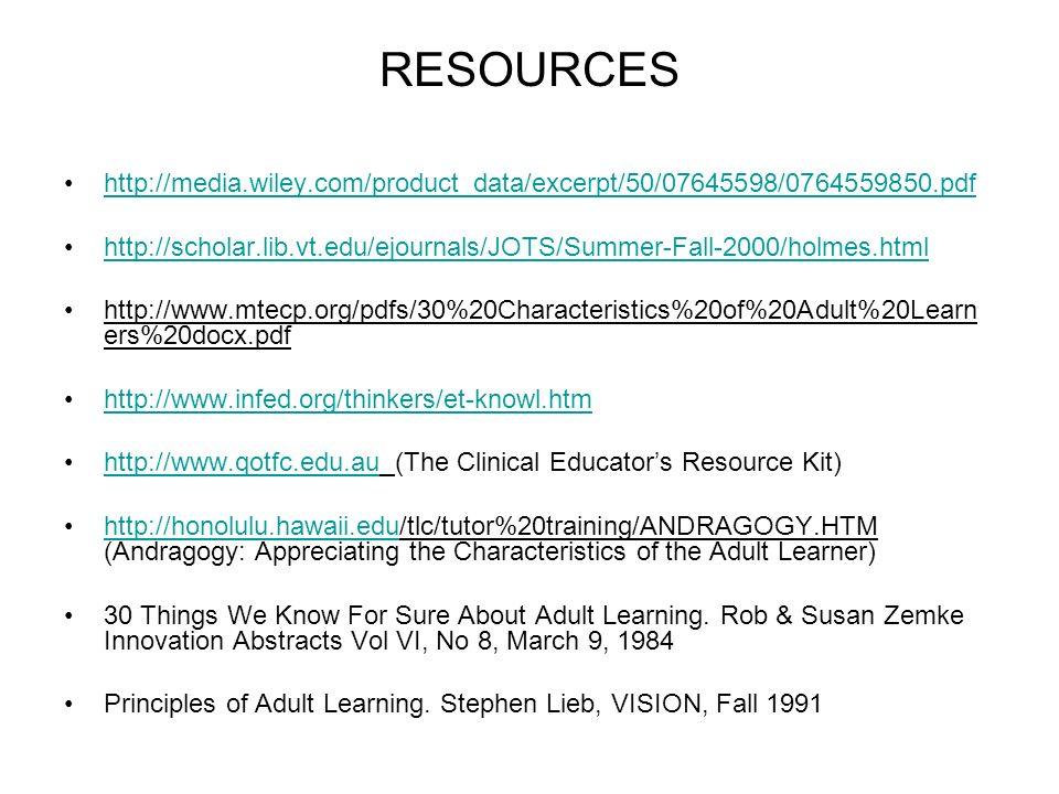 30 things we know for sure about adult learners
