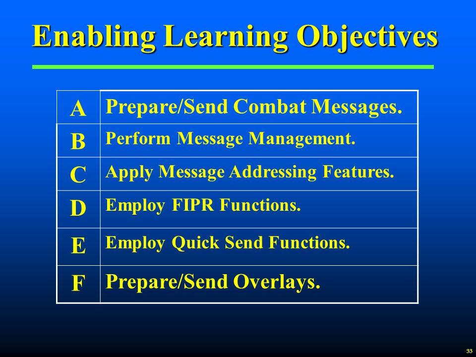 enabling learning Terminal objectives state the overall learning outcome you want students to   enabling objectives break down the terminal learning objective into smaller,  more.
