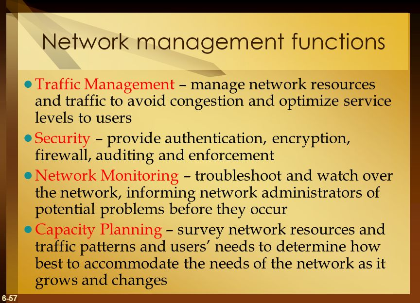 functions of network management A network management system (nms) is a set of hardware and/or software tools that allow an it professional to supervise the individual components of a see complete definition network layer: located at layer 3 of the open systems interconnection (osi) communications model, the network layer's primary function is to.