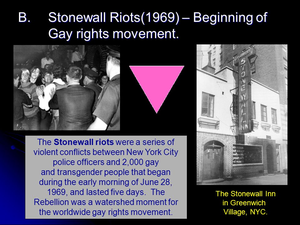 The Stonewall riots were a series of violent conflicts between New York City police officers and the