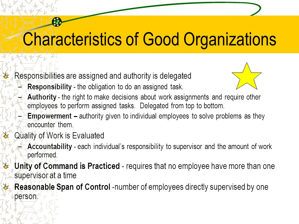 Characteristics of Good Organizations