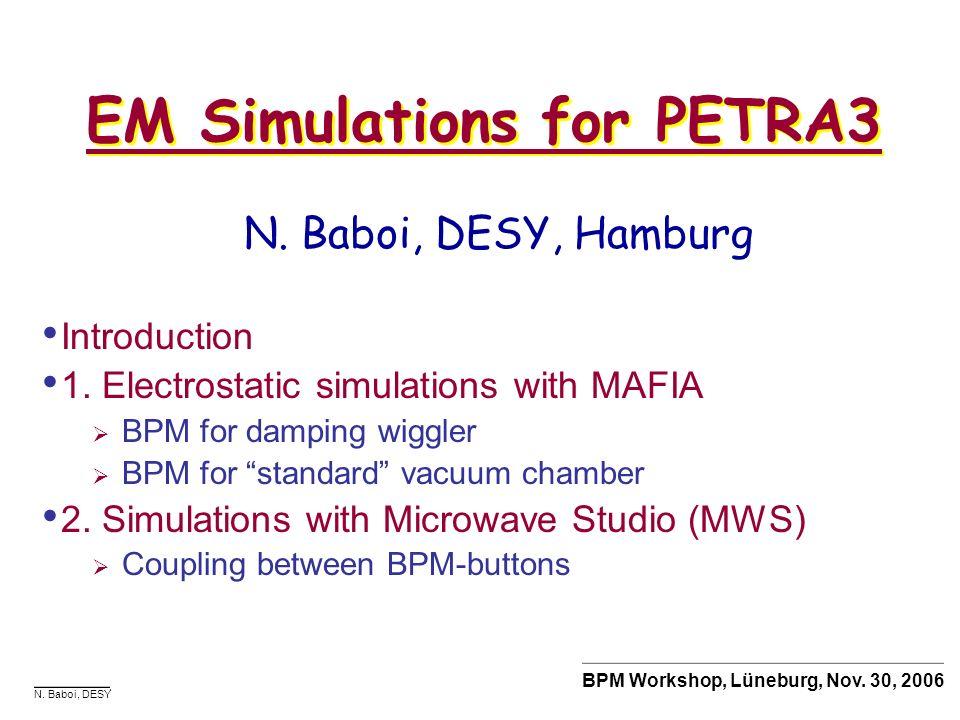EM Simulations for PETRA3
