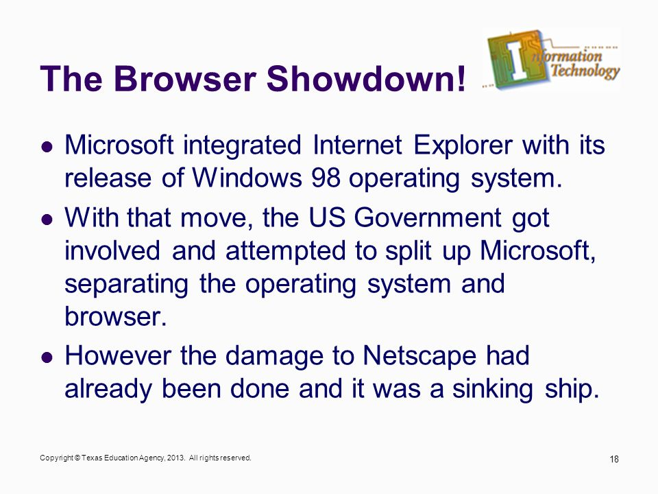 The Browser Showdown! Microsoft integrated Internet Explorer with its release of Windows 98 operating system.