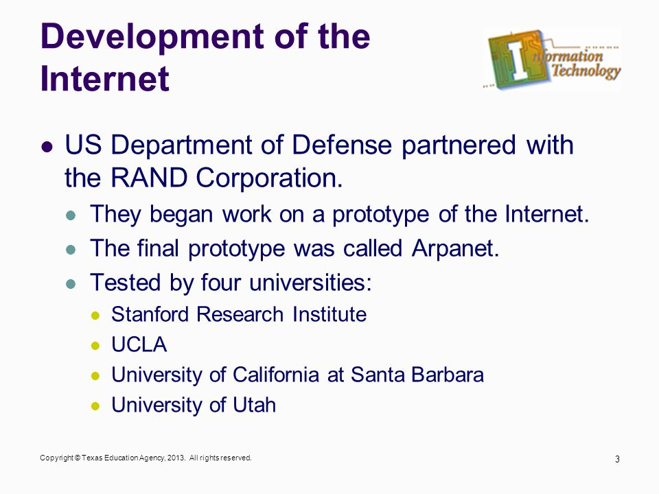 Development of the Internet
