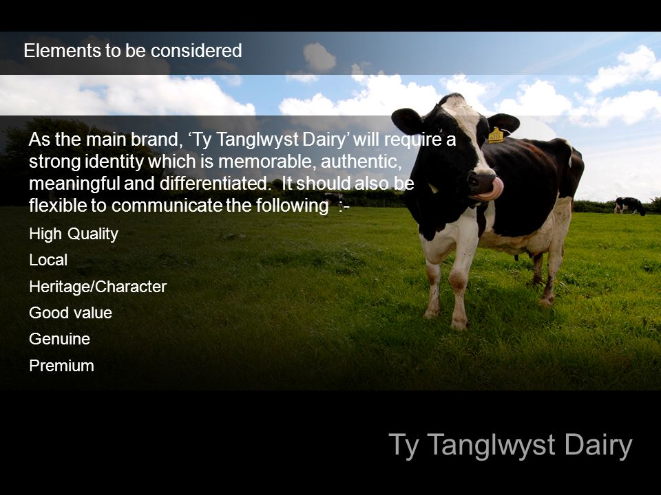 Ty Tanglwyst Dairy Elements to be considered