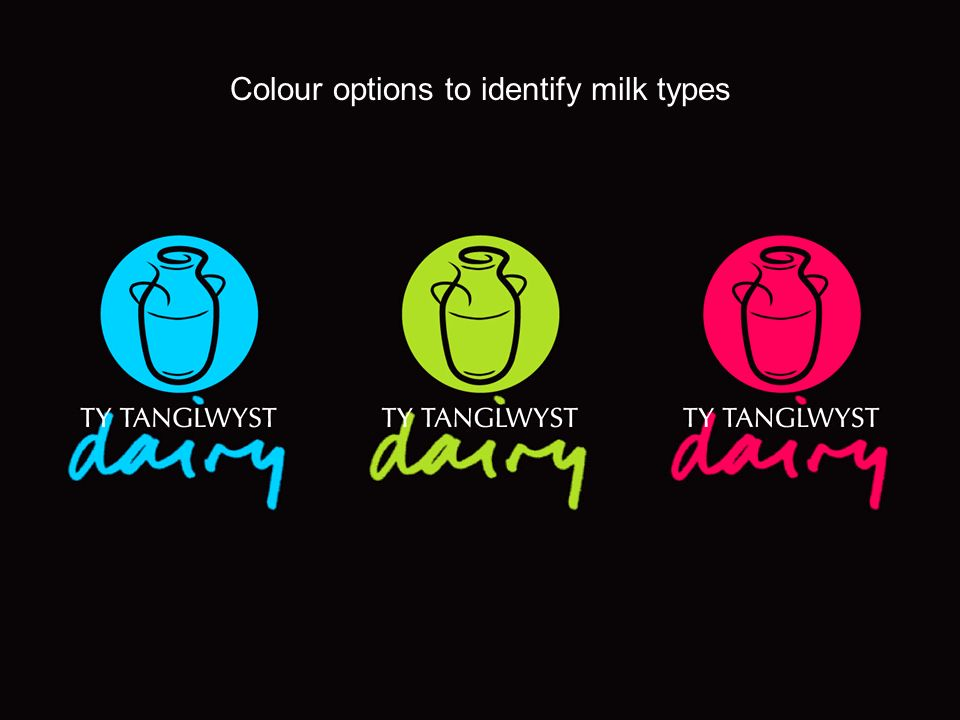 Colour options to identify milk types