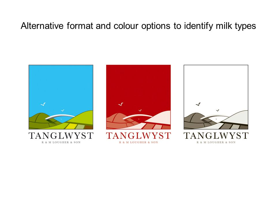 Alternative format and colour options to identify milk types