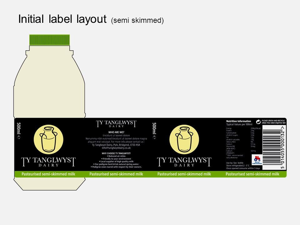 Initial label layout (semi skimmed)