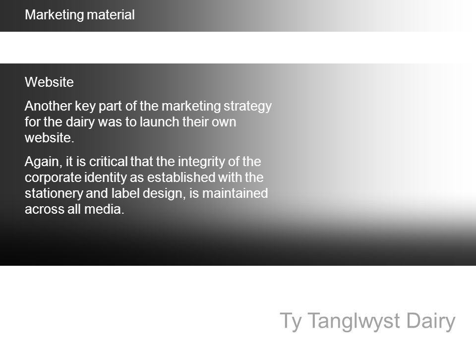 Ty Tanglwyst Dairy Marketing material Website