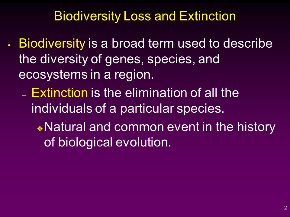 biodiversity and extinction Trends in biodiversity listing the species linnean shortfall: 14 million species described, but total diversity unknown estimated 5 - 50 million  centilenan extinctions: extinction of undescribed species.