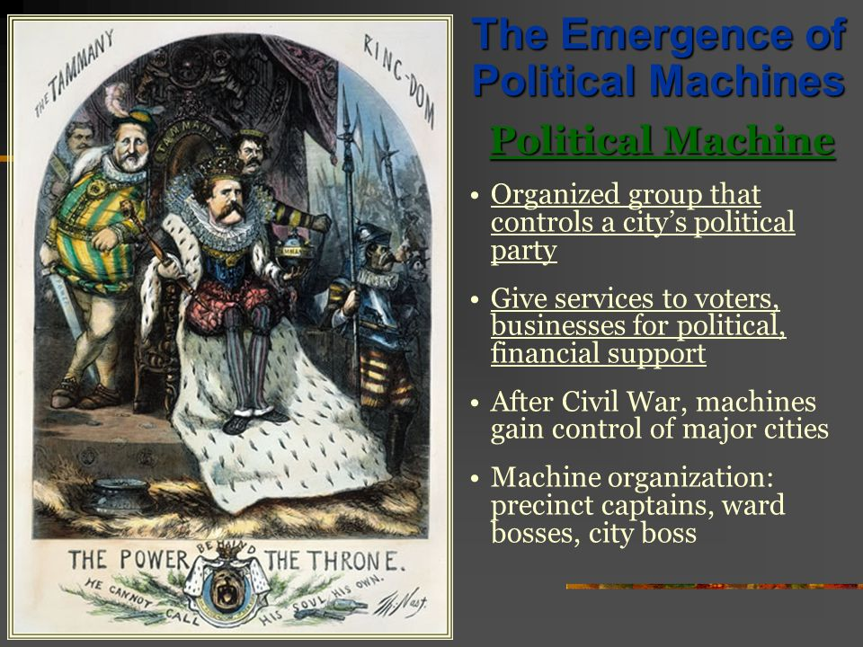 the civil war gave rise to the political machine This led a cartoonist to depict the political machine as a tiger destroying america  go to the rise of political conservatism  gilded age politics: political machines & civil service reform.