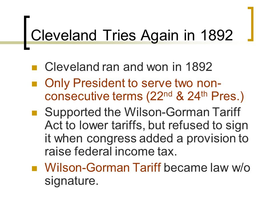 Cleveland Tries Again in 1892