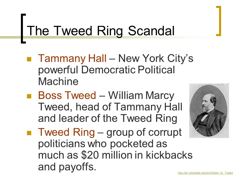 The Tweed Ring Scandal Tammany Hall – New York City's powerful Democratic Political Machine.