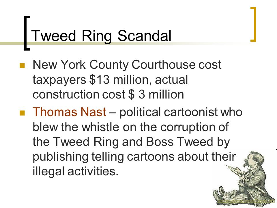 Tweed Ring Scandal New York County Courthouse cost taxpayers $13 million, actual construction cost $ 3 million.