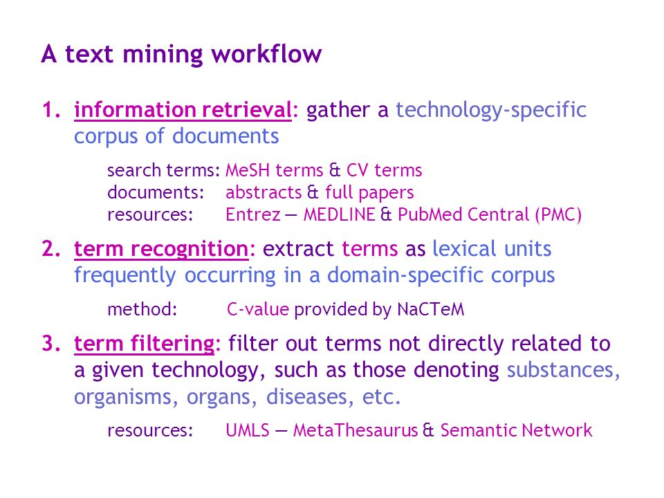 A text mining workflow information retrieval: gather a technology-specific corpus of documents.