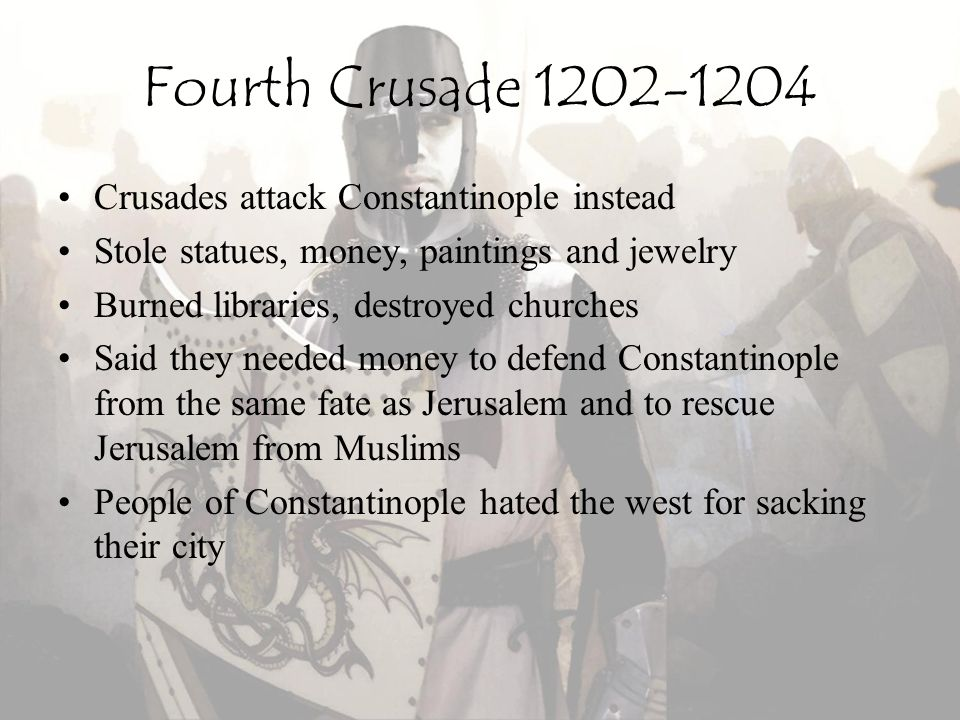 Fourth Crusade 1202-1204 Crusades attack Constantinople instead