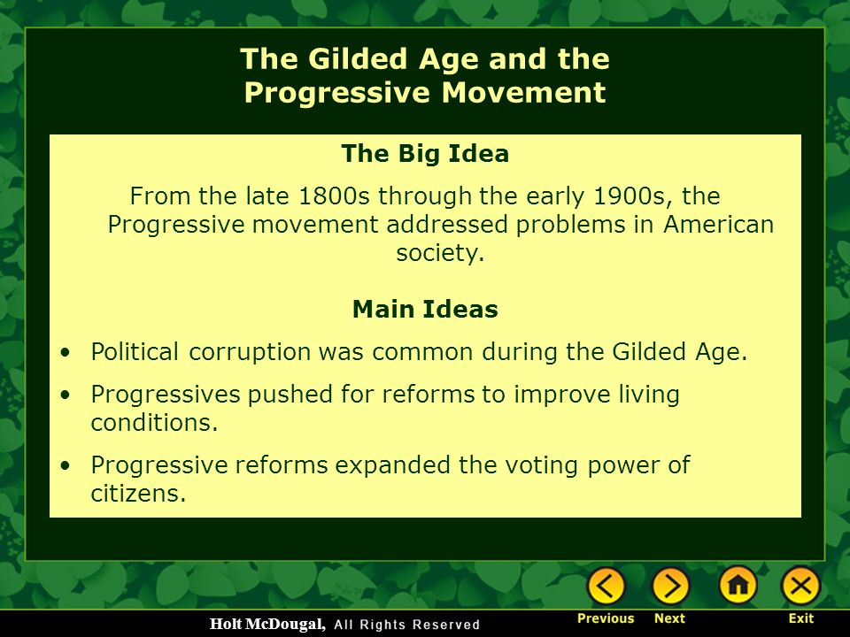history events of the gilded age progressivism essay The gilded age witnessed industrial progress and accumulated wealth that boosted the growth of the middle class, yet at the same time there was the spread of appalling conditions in the slum areas of the cities, the farmers were in desperate times, and factory workers and others were trampled upon by the wheels of progress (progressive pp).