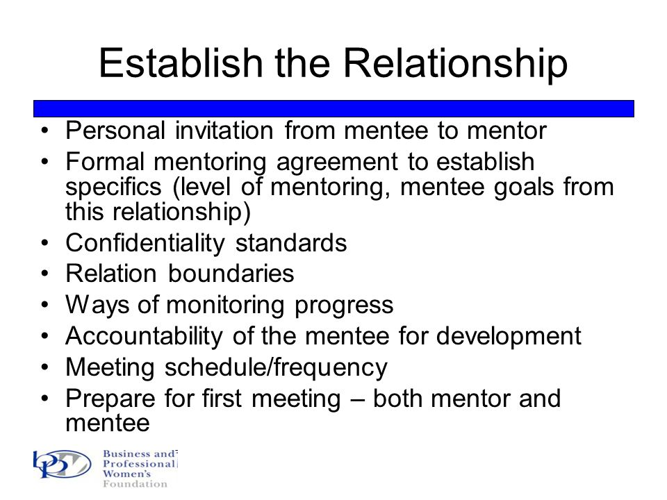 mentee and mentor relationship building