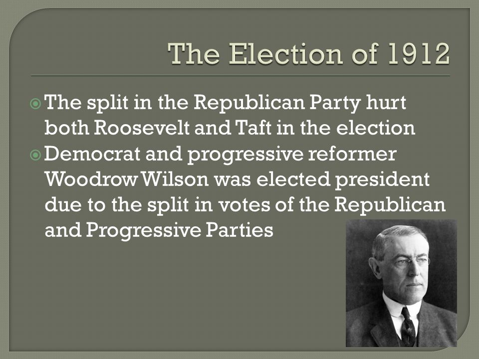 roosevelt taft and wilson progressive presidents essay Taft, roosevelt and wilson essays theodore roosevelt is considered our first progressive president what roosevelt was trying to do when he attempted to break up monopolies, was to show the.