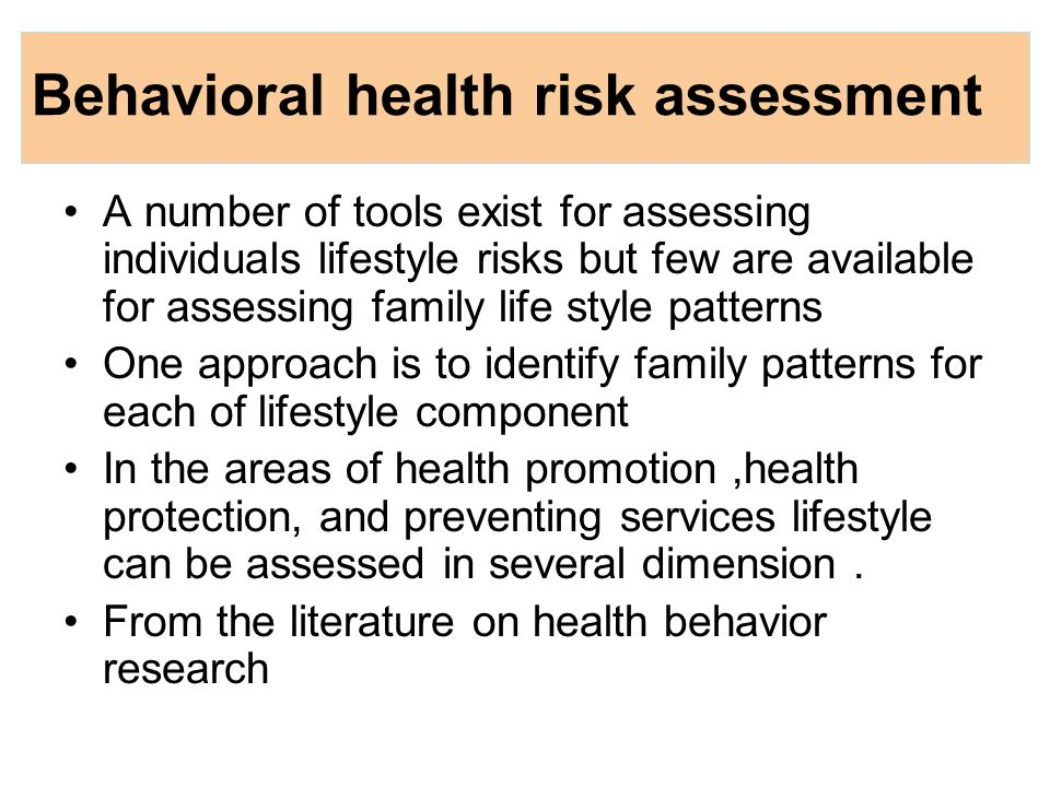 Family Health Risk  Ppt Download