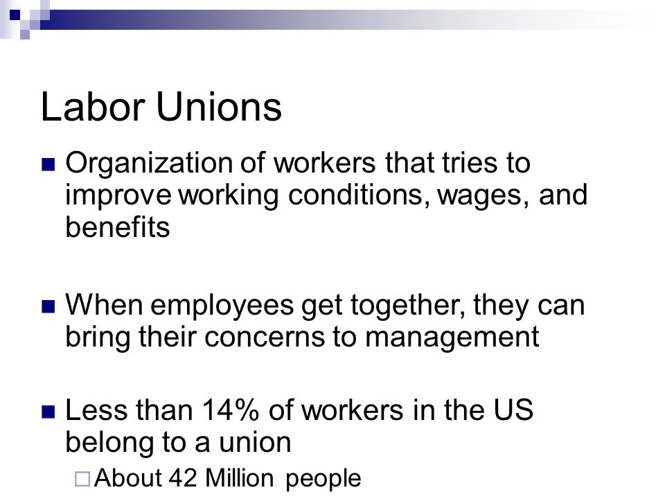 the benefits of labor unions for employees and employers Notice tojob applicants, employees, employers, labor unions,  termination, compensation and benefits, training, other terms or conditions of employment,.