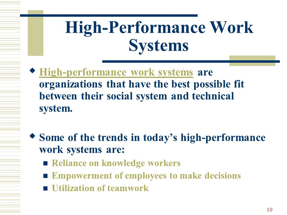 a high performance work system High performance work systems, corporate social performance and employee outcomes: exploring the missing links presenter: junsan chang 3.