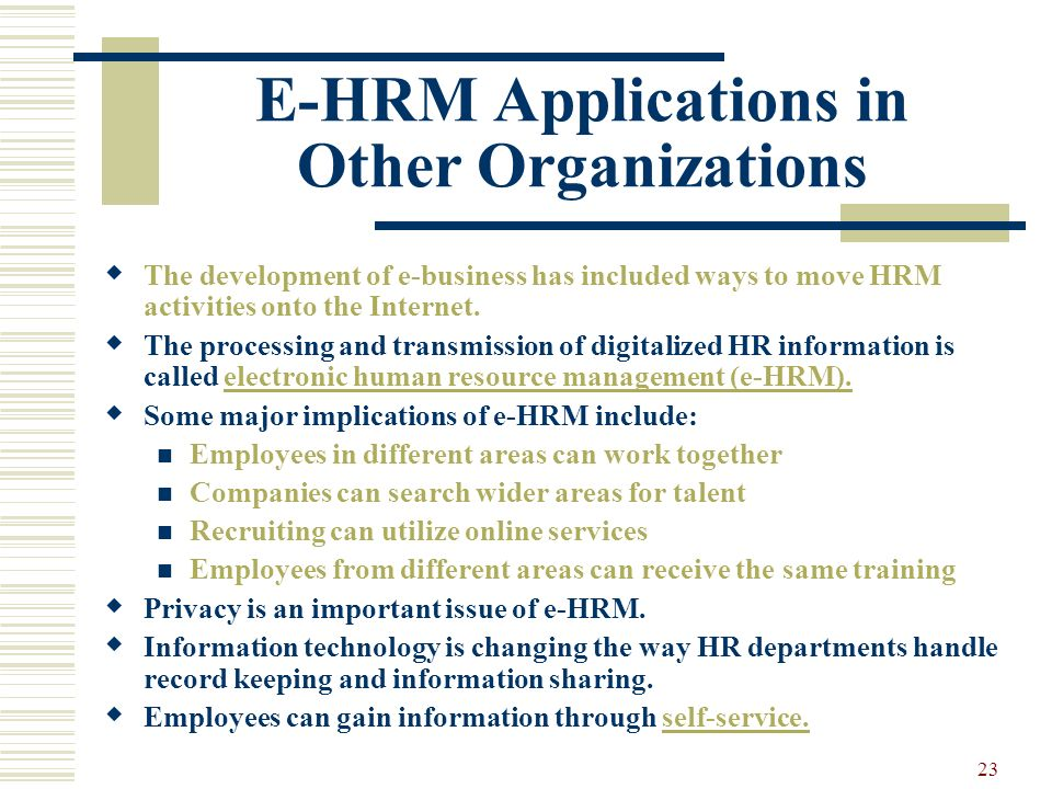 E-HRM Applications in Other Organizations