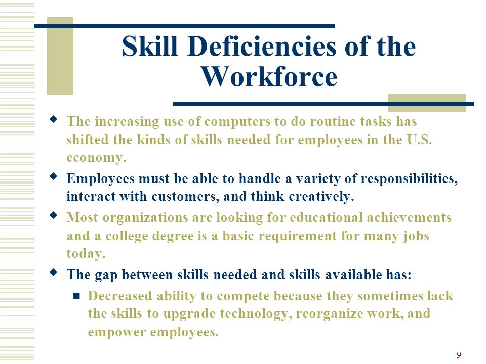 Skill Deficiencies of the Workforce