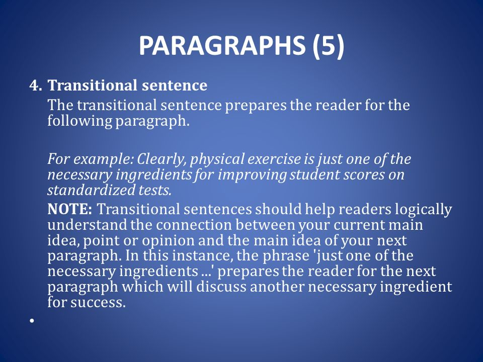 transition sentences in an essay Transition sentences in essays - get an a+ aid even for the hardest assignments if you are striving to know how to compose a great term paper, you need to look.