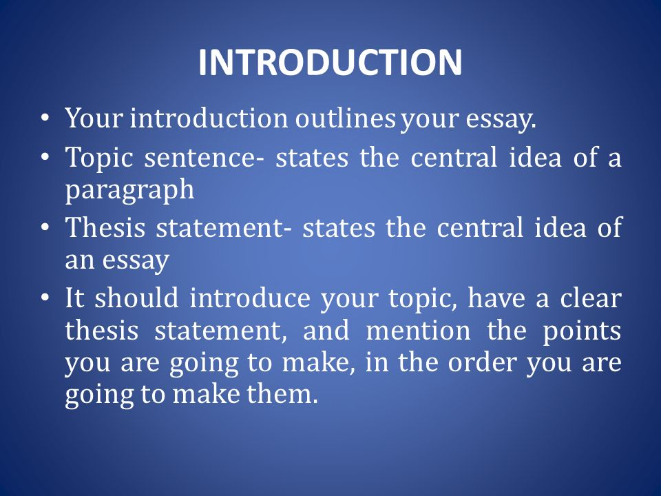 introduction of a essay The introduction should start with a general discussion of your subject and lead to a very specific statement of your main point, or thesis sometimes an essay begins with a grabber, such as a challenging claim, or surprising story to catch a reader's attention.