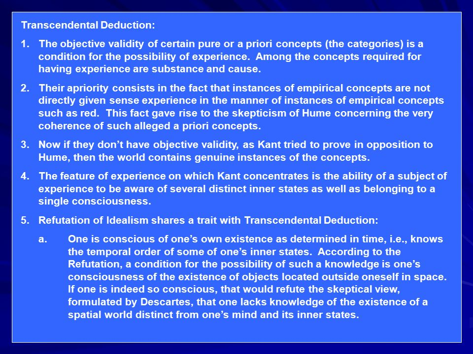 an examination on transcendental deduction by kant Citation information: kant-studien, volume 76, issue 1-4, pages 152–169, issn ( online) 1613-1134, issn (print) 0022-8877, doi: 1985761-4152 export citation.