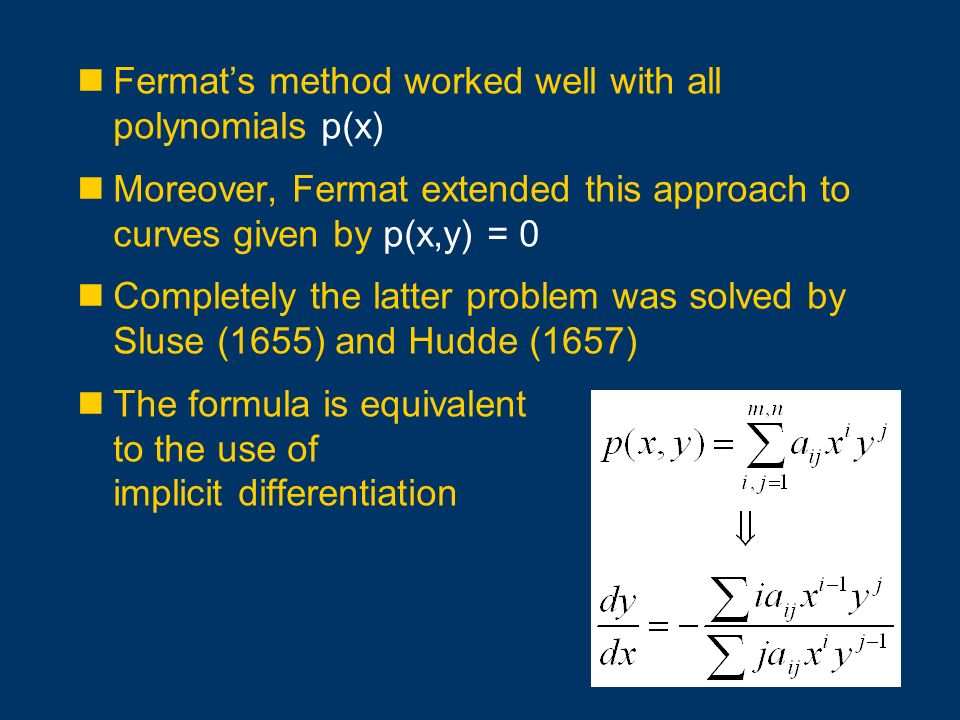 Fermat's method worked well with all polynomials p(x)