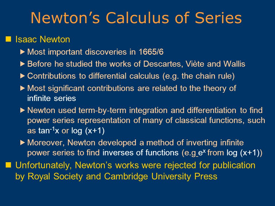 Newton's Calculus of Series