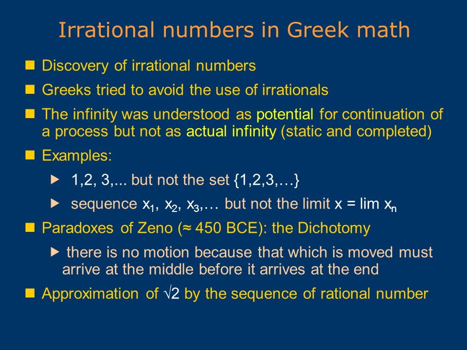 Irrational numbers in Greek math