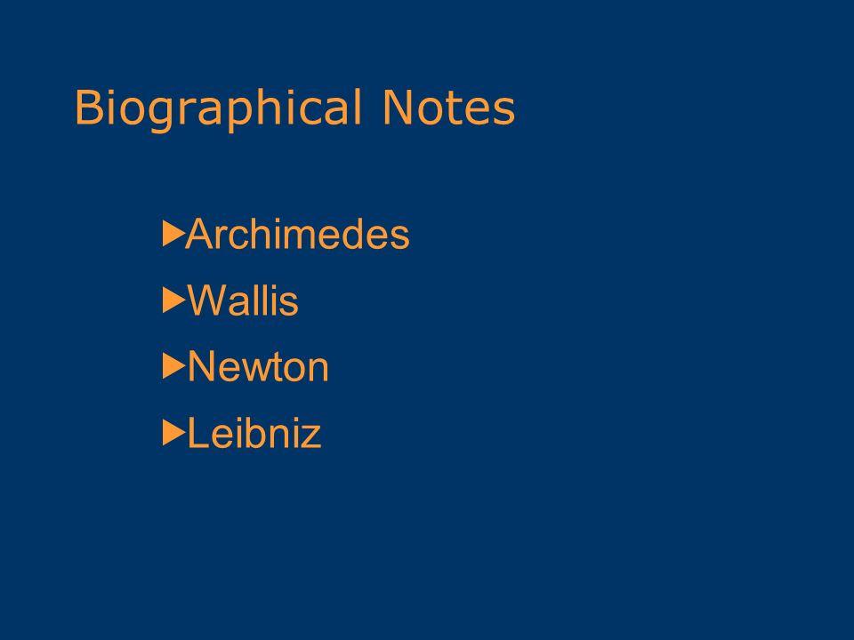 Biographical Notes Archimedes Wallis Newton Leibniz
