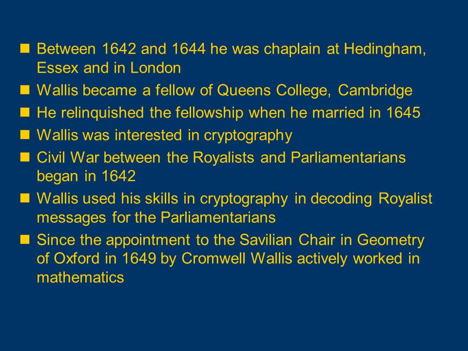 Between 1642 and 1644 he was chaplain at Hedingham, Essex and in London