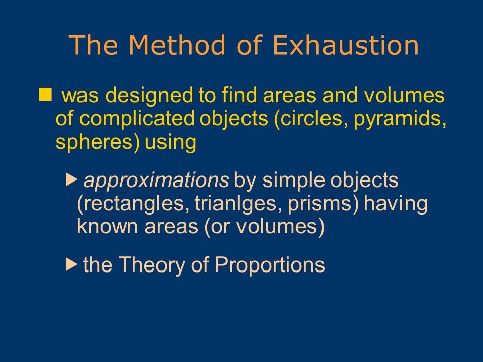 The Method of Exhaustion