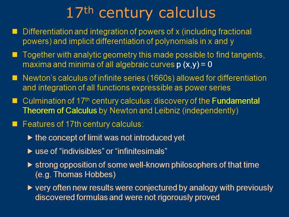17th century calculus